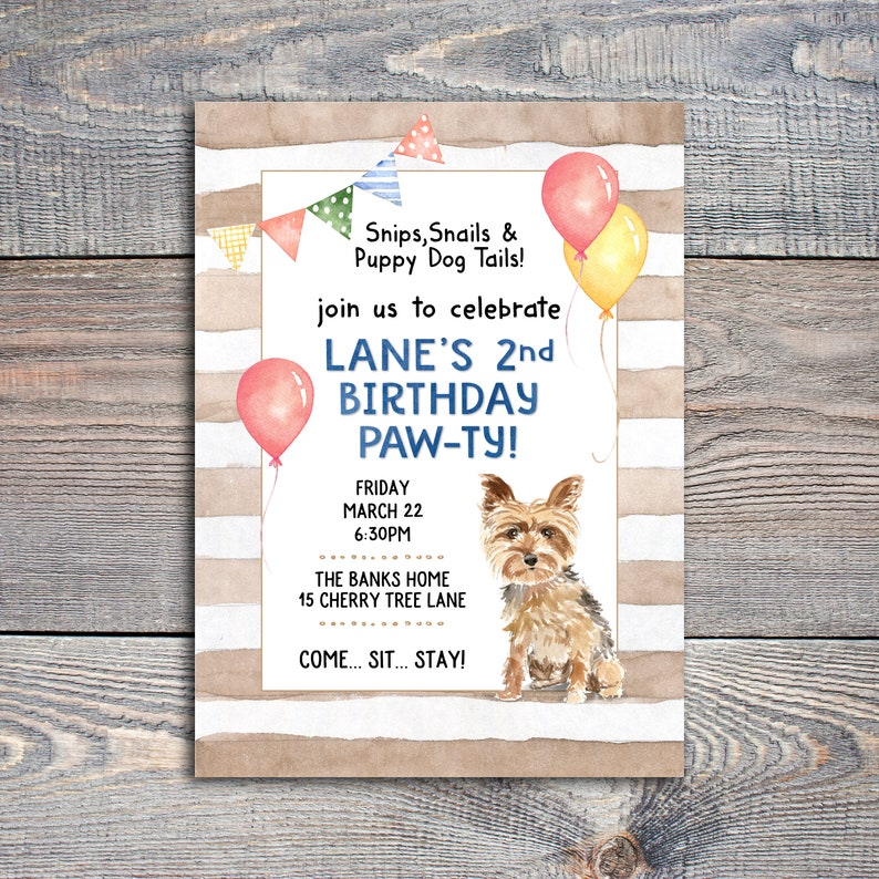 Yorkie Themed Birthday Party Invitation Image 0