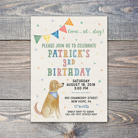 Dog Themed Birthday Party Invitation Puppy