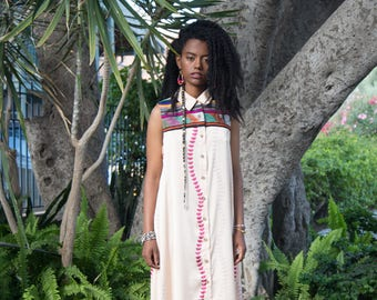Bohemian maxi sleeveless collar dress,collar dress,Ethiopian inspired caftan dress,print linen fabric,women clothing