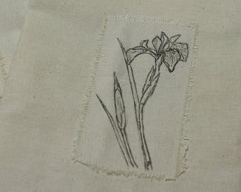 Iris Gift Bag, Fabric Gift Bag, Spring Flower Gift Wrap
