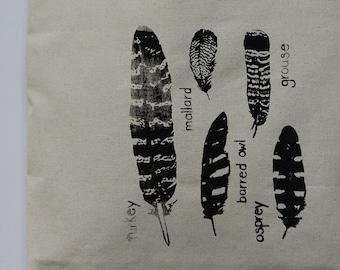 Feather Tote Bag, Screenprinted Canvas Tote Bag