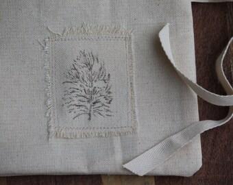 Owl Feather Fabric Gift Bag, Reusable Fabric Gift Bag, Small Cloth Gift Bag