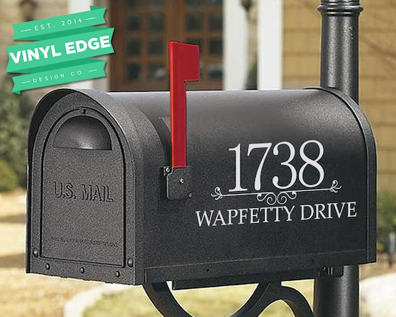 Personalized Custom Mailbox House Number and Street Name Vinyl Decal 2 Piece Set
