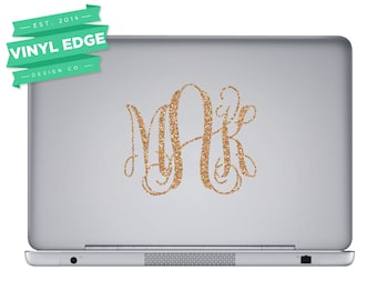 Glitter Monogram Decal - Gold Glitter Monogram Decal - Gold Glitter Decal - Gold Glitter Laptop Decal - Glitter Laptop Decal [LAP002]