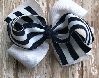 Navy White Nautical big bow headband navy striped 4 inch 5 inch bow Sailing bow