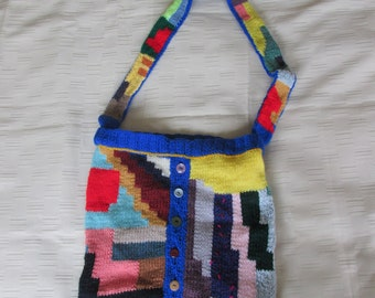 Hand knitted abstract Slouch shoulder Bag