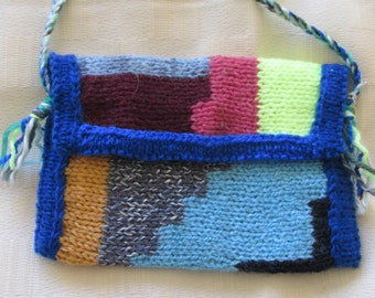 Hand knitted abstract shoulder Purse.