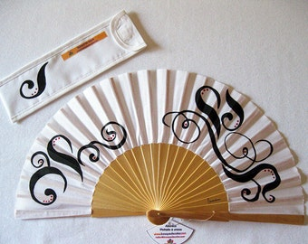 """Hand painted with matching sheath Fan """"harmony"""""""