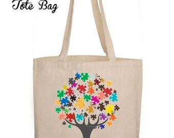 Autism Teacher Appreciation Christmas Gift, Canvas Tote Bag, Autism Gift, Autism Teacher's Tote Bag,Teacher Gift,Autism Awareness Tote