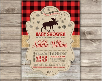 fd0c94452 Buffalo plaid baby shower invitation