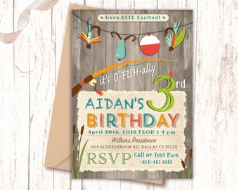 Fishing Birthday Rustic Invitations Boy Party Any Age Fun Unique Personalized NV874