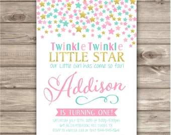 Twinkle Twinkle Little Star Confetti Birthday Invitations Pink Gold Aqua Yellow Theme Party girl First Birthday Digital Printable NV704