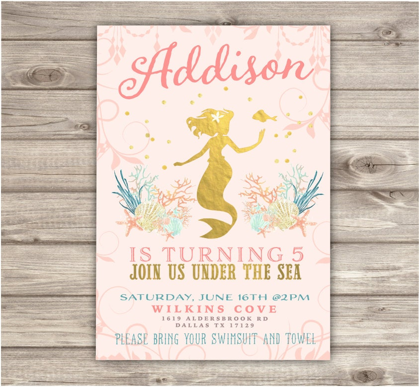 Rose Gold Mermaid Birthday Invitations Shabby Chic Little Silhouette Pin