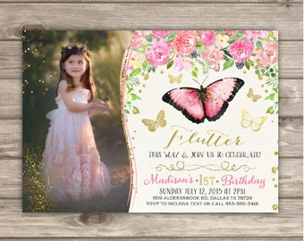 Butterfly Birthday Invitations Photo spring summer Shabby Chic Pink Picture Gold Picture Glitter Theme Party girl First Birthday pdf NV7434
