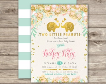 Twin Baby Shower Invitations A little Peanut Invitations  Elephant Invitations Gender Neutral Invitations Gold Elephant Invitations NV6788