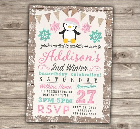 Penguin Birthday Snowflake Invitations Winter 2nd Birthday