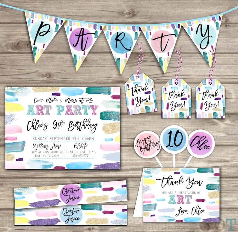 Painting Party Birthday Arts And Craft Birthday Ideas Paint Etsy