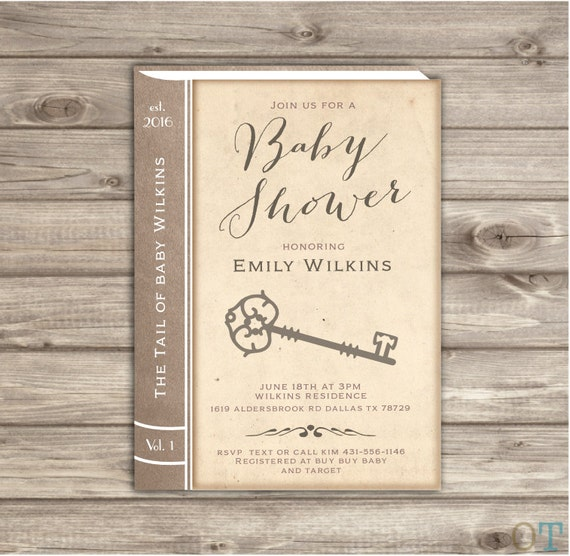 vintage baby shower invitations story book old book invitation etsy
