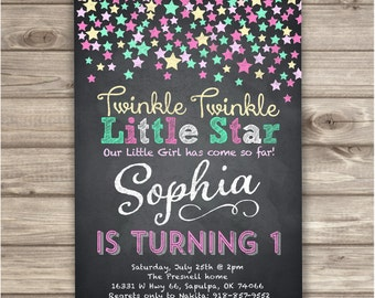 Chalkboard Twinkle Twinkle Little Star Confetti Birthday Invitations Pink Gold Aqua teal Chalk board girl First Birthday Digital NV701