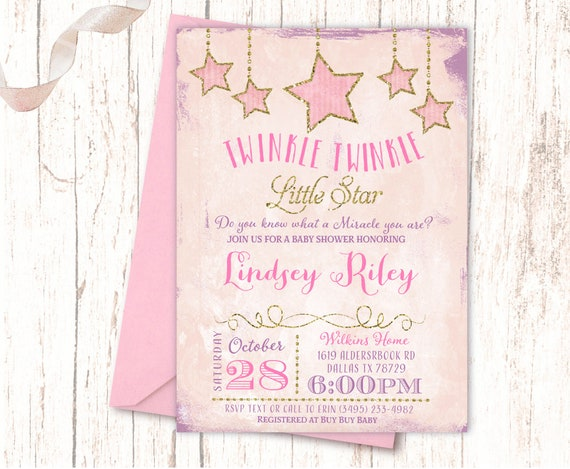 graphic about Free Printable Twinkle Twinkle Little Star Baby Shower Invitations named Twinkle Tiny Star Little one Shower Invites, Shabby Stylish Crimson Crimson Glittery Gold Design and style, Its A Woman Prints/Electronic Tailored NV1006