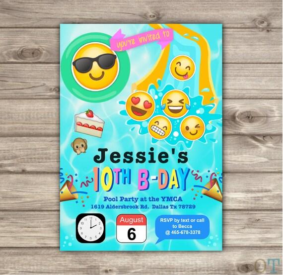 Emoji Pool Party Birthday Invitations Swim Beach