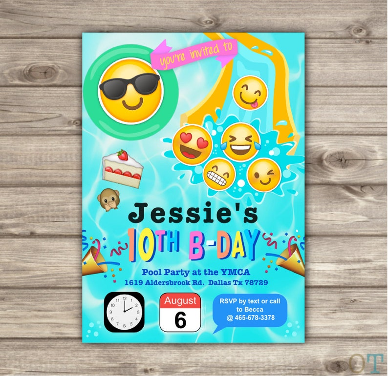 Emoji Pool Party Birthday Invitations Swim Beach