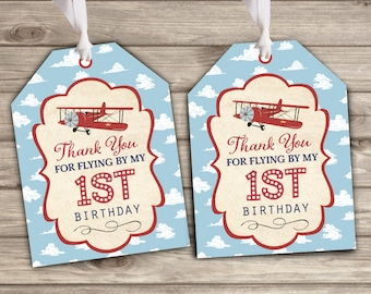 Favor Tags Time Flew By First Birthday Party Theme Vintage Airplane Thank You Tags TT2186