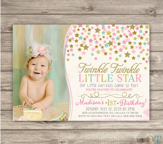 photo 1st birthday invitation first birthday invitation girl pink and gold boy Twinkle twinkle little star first birthday invitation