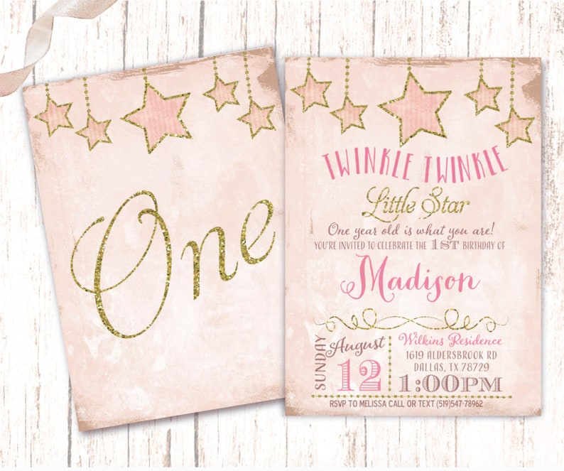 Little Star Girl Birthday Invitations Glittery Gold and Pink image 0