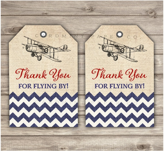 Airplane Birthday Party Favor Tags: Thank You Tags Vintage Airplane Favor Tags Birthday Rustic