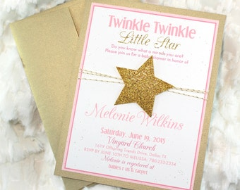 15 Printed Twinkle Twinkle Little Star Birthday Invitations Pink Gold Glitter Party girl First Birthday Invitations
