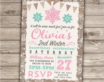 Snowflake Invitations Winter Birthday
