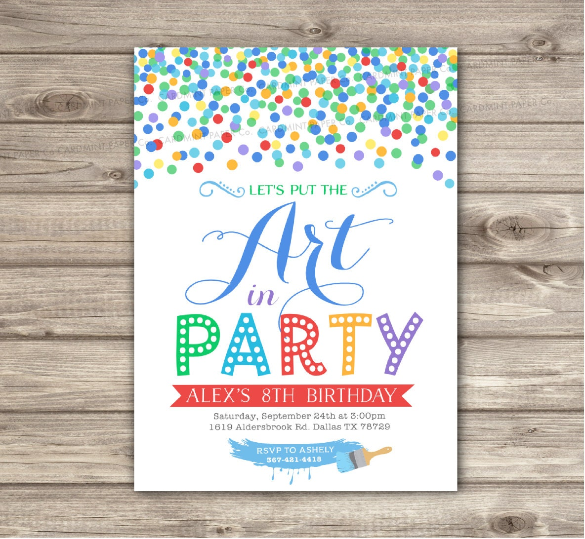 Art Birthday Invitations Painting Craft Party Confetti Paint | Etsy