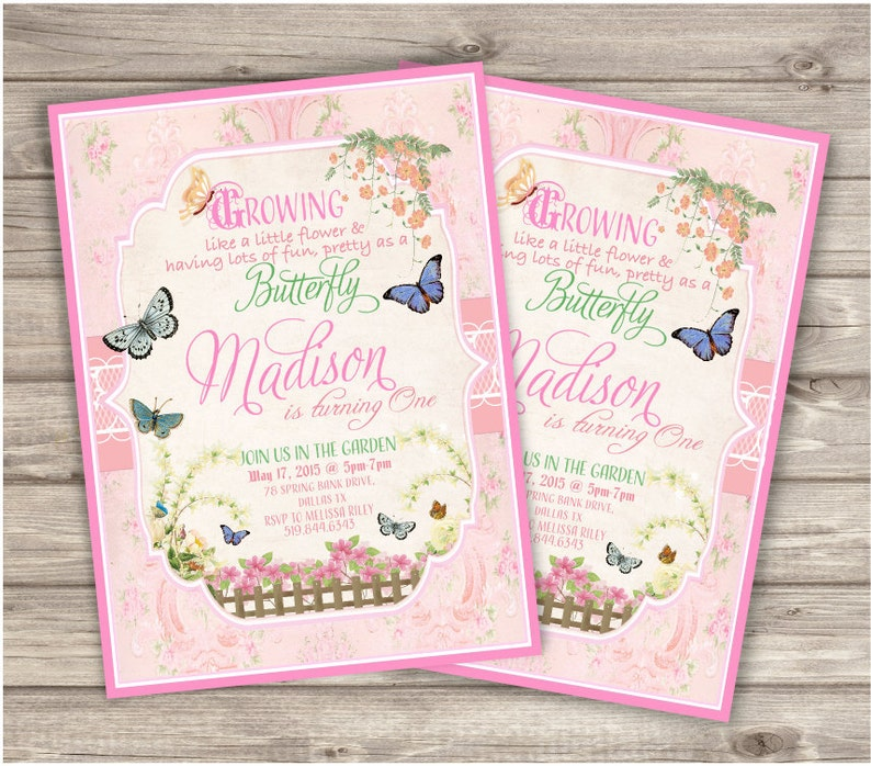Butterfly Garden Birthday Invitations NV5104