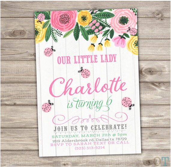 Pink Ladybug Birthday Invitations Vintage Wood Flowers Spring