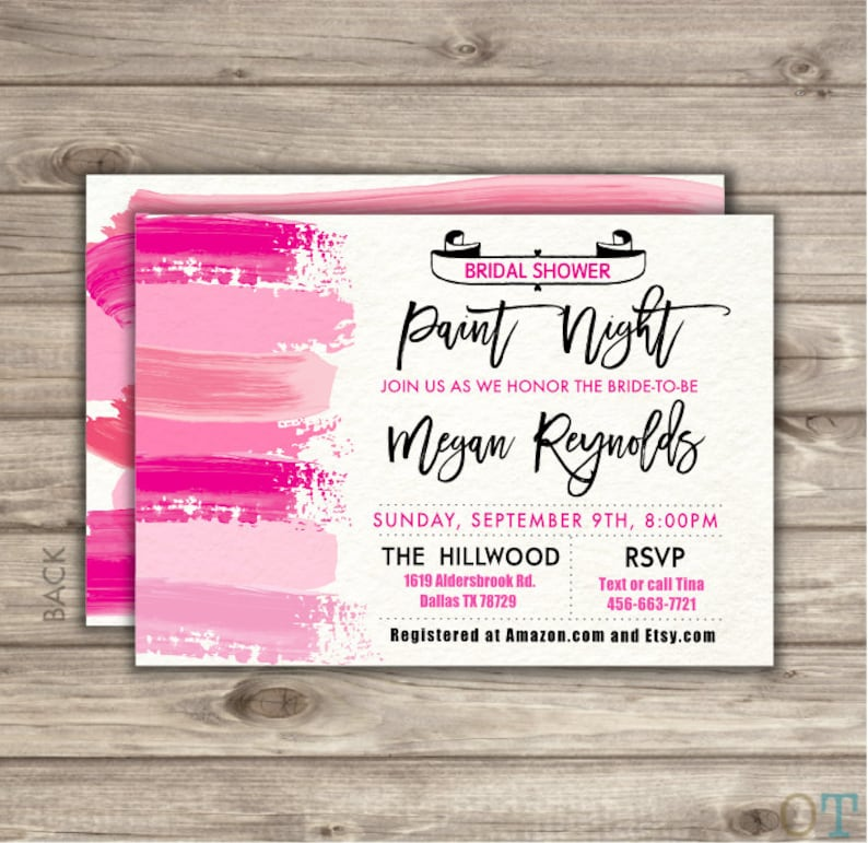 cfe00620fe17 Paint Night Bridal Shower Invitations Painting Crafts Paint