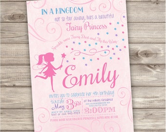 Fairy Princess Birthday Invitations Swirl Pink Blue Party girl First Birthday Digital Printable Invitations Princess Birthday Royal NV752