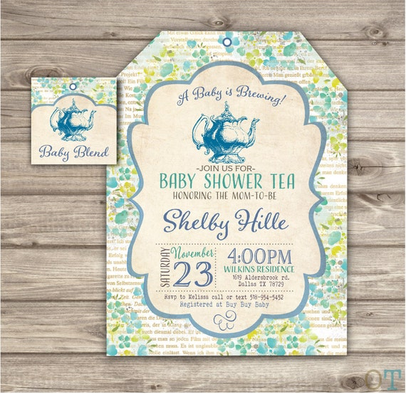 Printed 30 Blue Baby Tea Party Baby Shower Invitations 30 Book Etsy