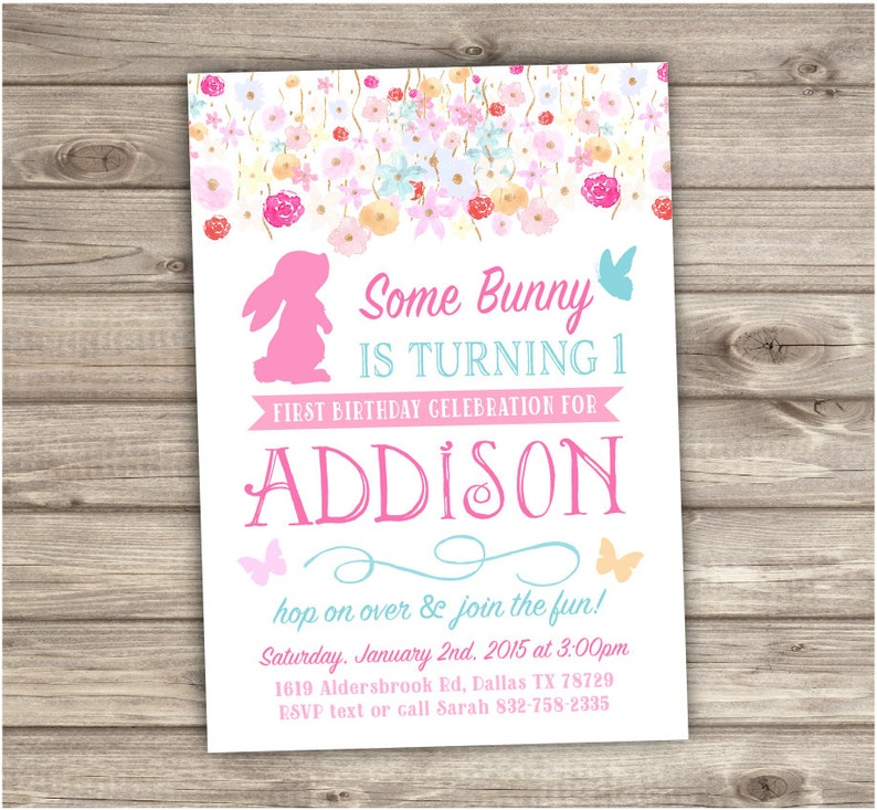 1st Birthday Invitations Some Bunny Is Turning One Spring