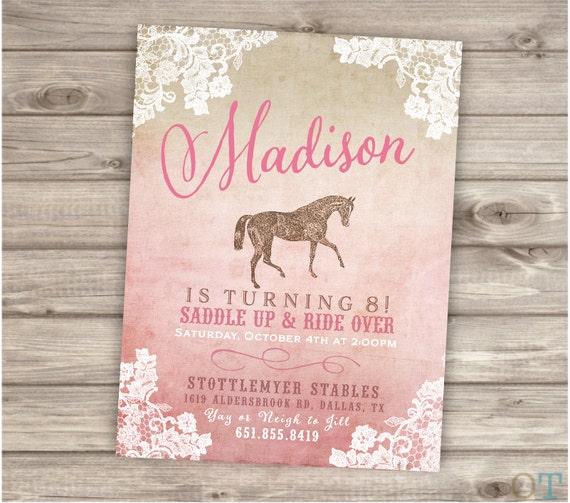 Printable Rustic Lace Horse Birthday Invitations Shabby