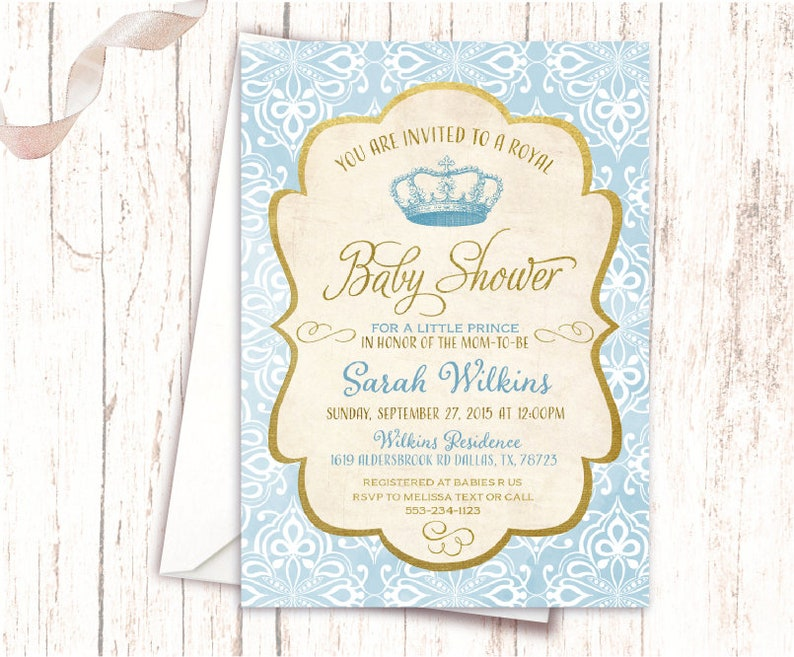 image about Free Printable Prince Baby Shower Invitations identified as Royal Kid Shower Invites Prince Blue and Gold Basic Printable Topic Social gathering Kid Boy Shower Prince Invites Royal Prince NV675