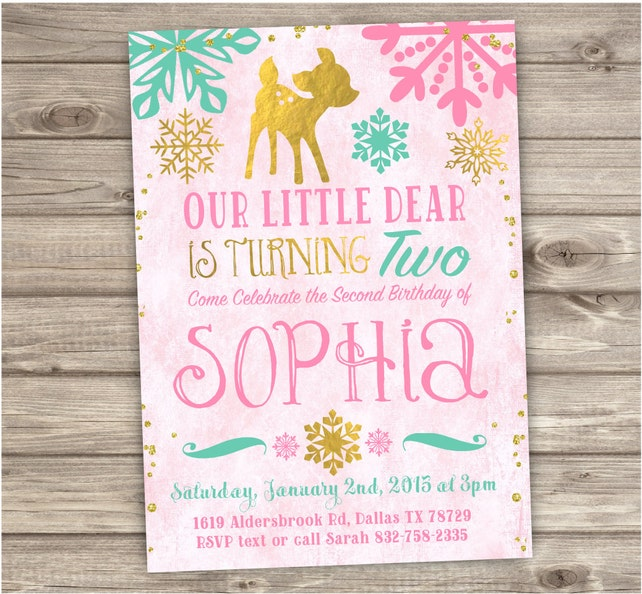 Snowflake Winter Birthday Invitations Printable Second Mint Gold Pink Forest Dear Rustic Woodland 2nd