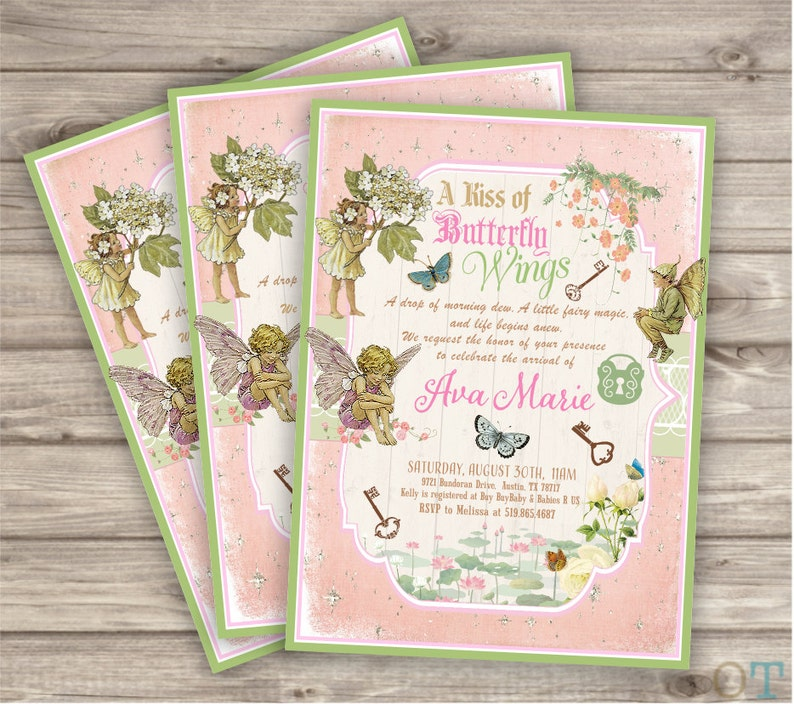 Shabby Chic Woodland Fairy Party Thank You Cards