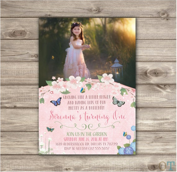 Photo Butterfly Garden Birthday Invitations Bbq Picture