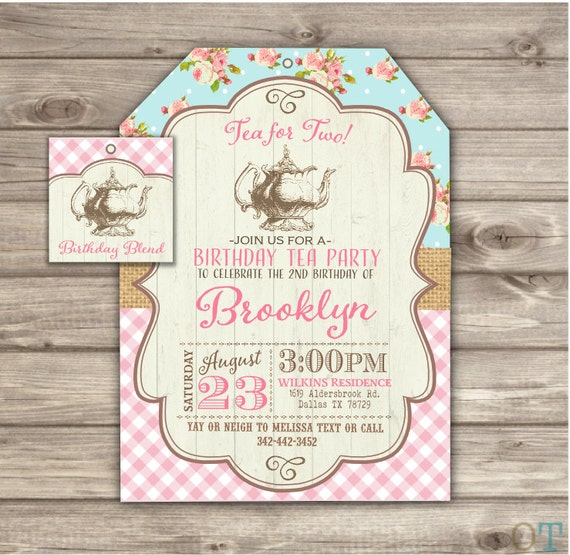 Tea for two 2nd cowgirl shabby chic birthday invitations etsy image 0 filmwisefo