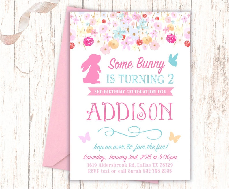 Pink Bunny Birthday Invitations Some Little Girl Is