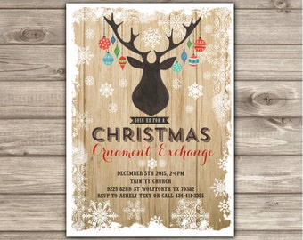 Christmas Ornament Exchange Invitations Holiday Party Work Church Christmas Party Rustic Snowflakes Dear Antlers NV3024