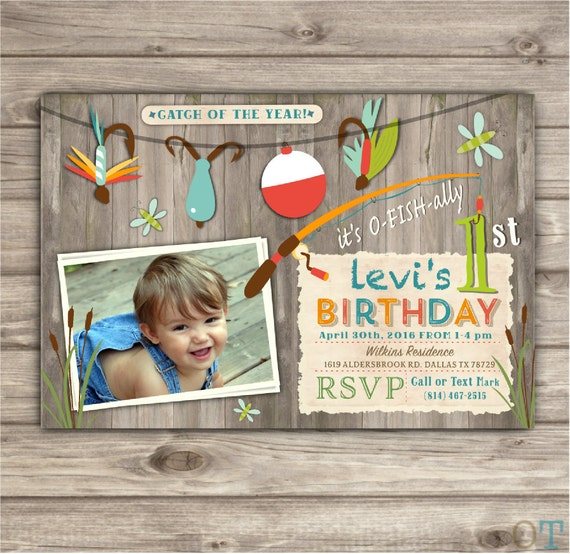 Photo Gone Fishing Birthday Invitations We Re Reel Excited Etsy