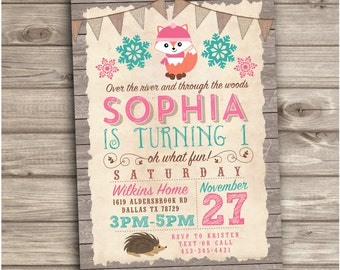Winter Woodland Birthday Invitations Printable Invitations pink forest animals  teal Rustic woodland First birthday ONEderland NV1934