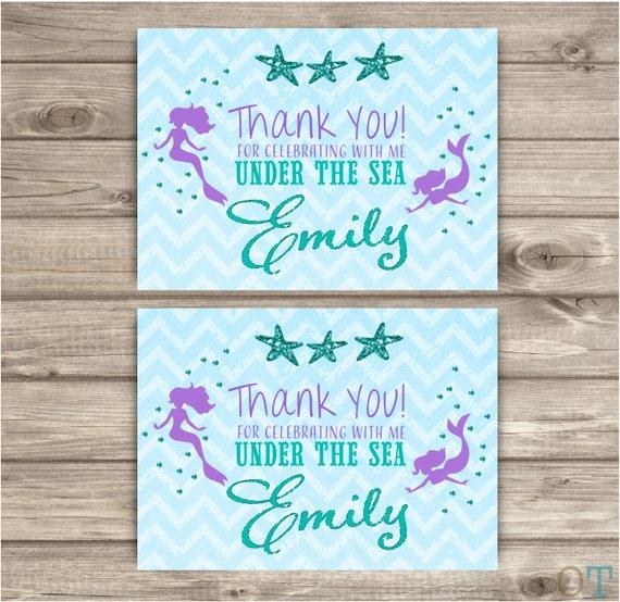 Sirene Danniversaire Merci Cartes Chevron Petite Sirene Etsy